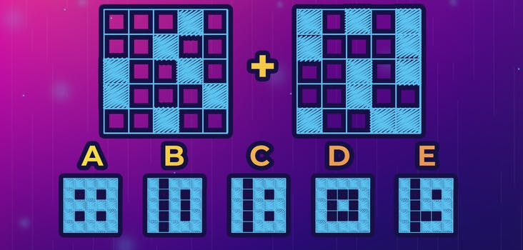 Q 7. If you place the square on the left over the square on the right, what will the resulting pattern be? Type your answer in below!